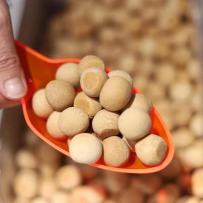 Le Biscotin d'Aix est composé d'une noisette entière enrobée d'un biscuit à la fleur d'oranger.